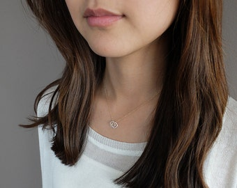 Gia (Gold - double) - minimalist geometric double squares mixed metal necklace