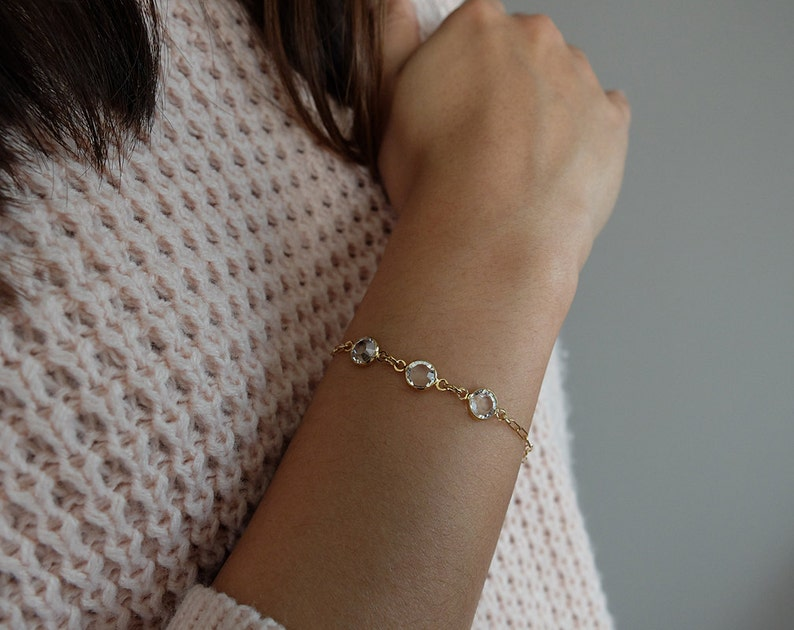 Ilona Clear/Gold   minimalist 14kt gold-filled Swarovski image 0