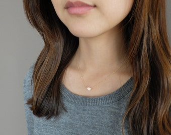 Cosette (Gold) - simple and sweet dainty heart personalized handstamped 14k gold-filled necklace