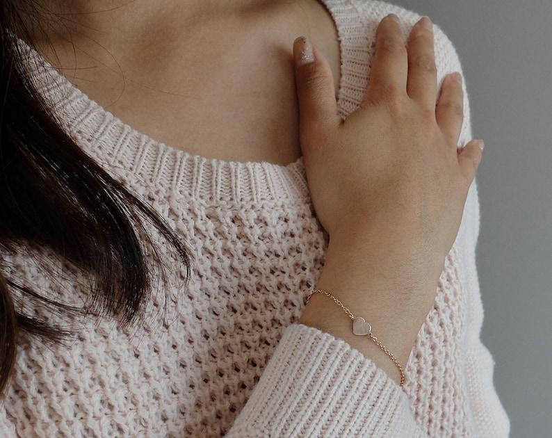 Emma Rose Gold  personalized petite heart 14k rose image 0
