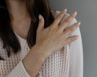 Liberty - 14k gold-filled satellite beaded hand chain slave bracelet
