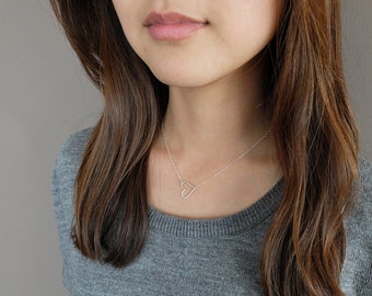 Natalie (Silver - hammered) - simple and sweet hammered open heart sterling silver or gold-filled necklace