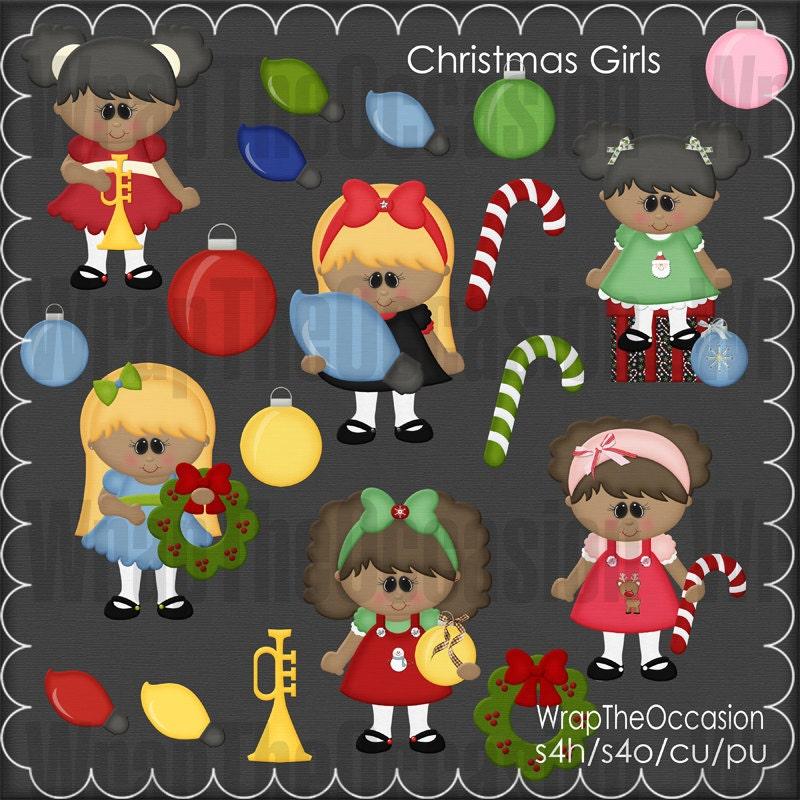 AA-Girls Clipart Weihnachten | Etsy