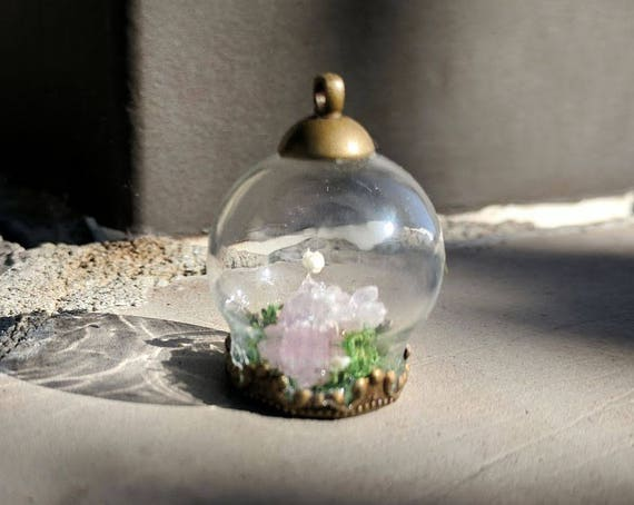 Elegant Miniature Terrarium Necklace With Desert Rose Quartz Etsy