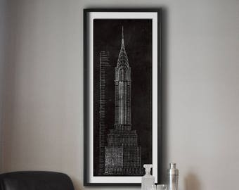 Manhattan blueprint etsy chrysler building blueprint vintage new york city manhattans chrysler building blueprint poster print giclee print malvernweather Gallery