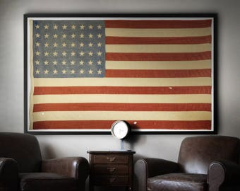 f58cf689b36 American Flag Print   Vintage American Flag - 48 Star American Flag - WW2 American  Flag - American Flag Art - Giclee Art Print