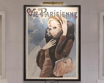 Fashion Art : La Vie Parisienne Print - Fashion Decor - Art nouveau print - Art Deco Wall Art - Red Lipstick Art - Giclee Print
