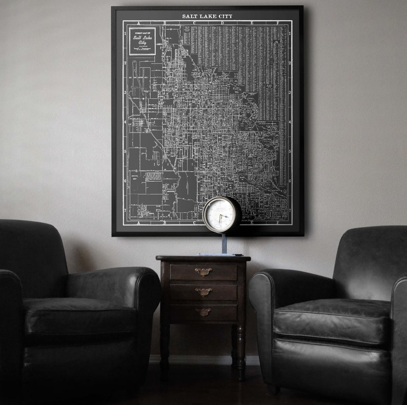 Enjoyable Salt Lake City Map Vintage Salt Lake City Map Utah Map Print Old Salt Lake City Map Circa 1950S Home Interior And Landscaping Ologienasavecom