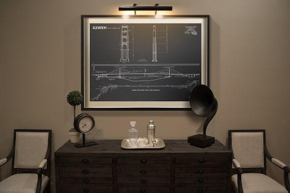 Golden Gate Bridge Blueprint : Vintage San Francisco Golden | Etsy