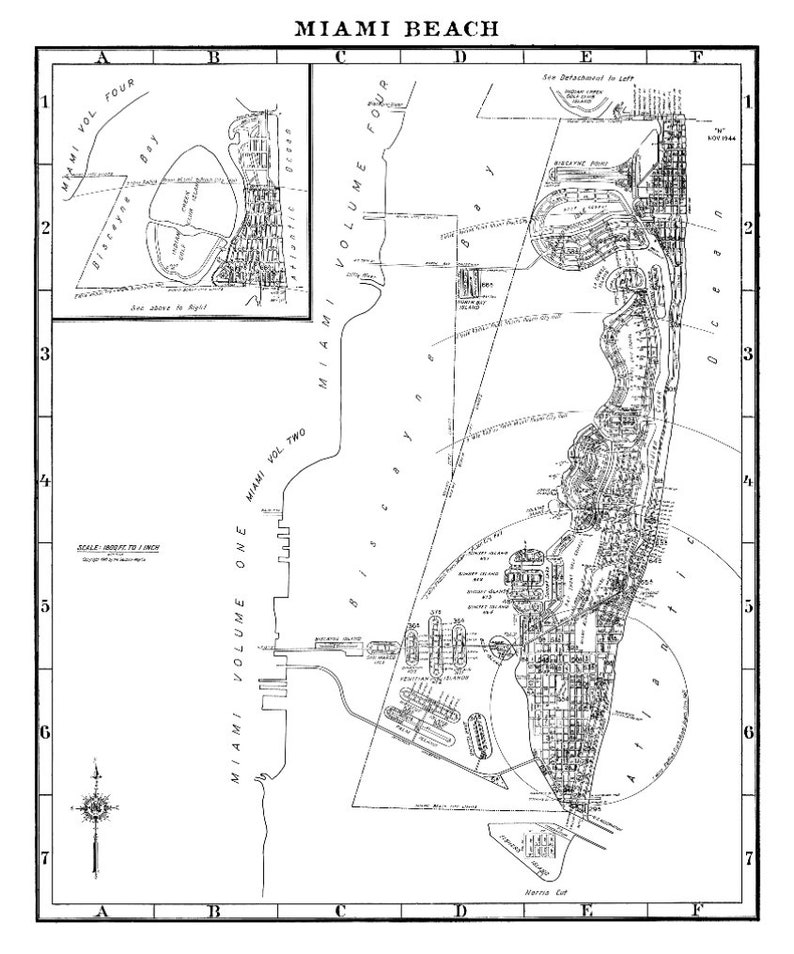 Miami Beach Map Print Miami Beach Florida Old Miami Vintage Miami Beach Map Print Circa 1947