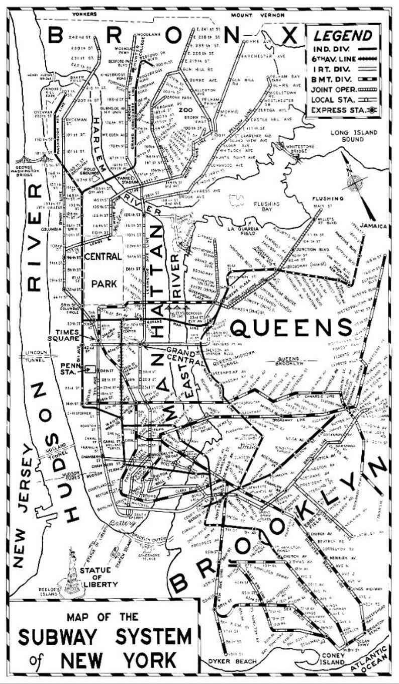Black And White Subway Map.New York Subway Map 1955 New York Subway System Map Print Archival New York Map Print Giclee Print