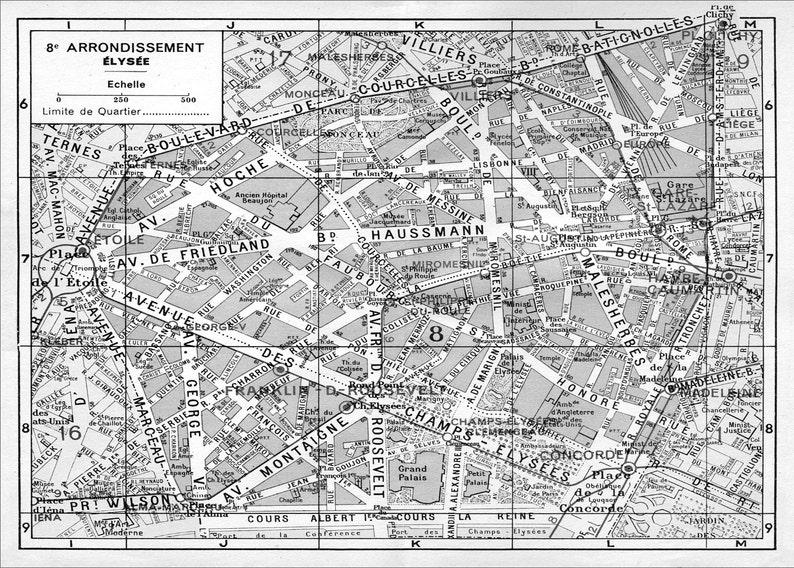 Karte Paris Arrondissement.Paris Karte 8 Arrondissement Karte Elysees Karte Druck Vintage Paris Arrondissement Map Paris Stadtplan Druck Poster 1950er Jahre