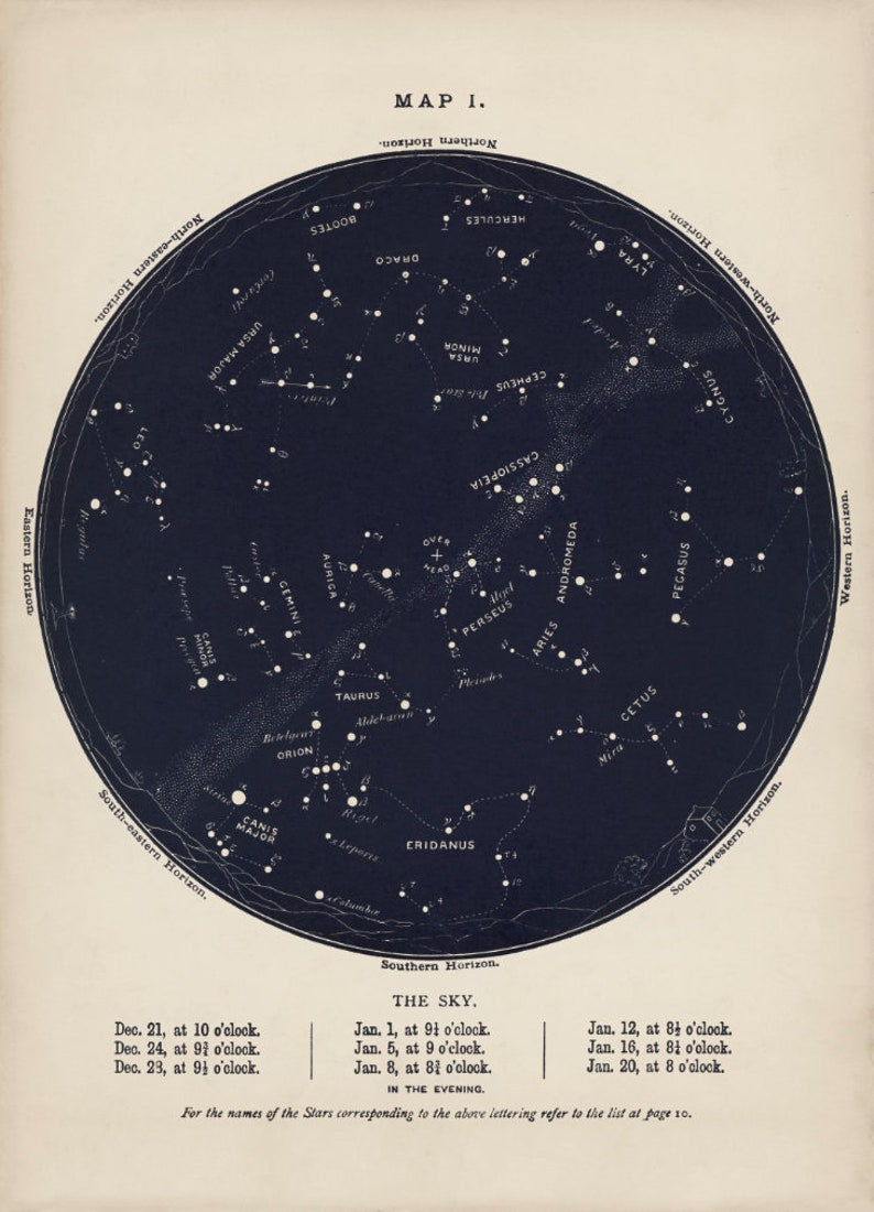 Star Map For Kids.Night Sky Print Constellation Map Kids Star Map Etsy