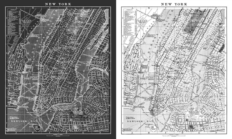 New York Map Print Circa 1900 Map Of New York Lithograph Etsy