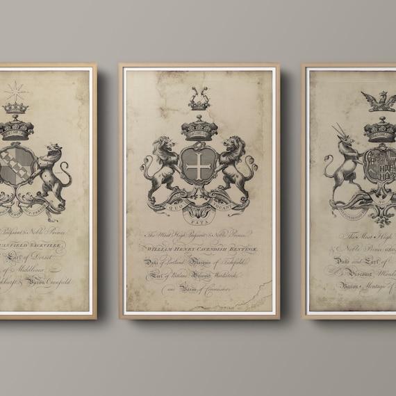 Baronagium Genealogicum Medieval Crest Coat of Arms Family Crest Art ENGLISH ARMORIAL Engraving #7 Renaissance 18TH C Heraldry Print