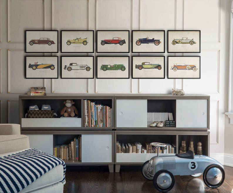 Car Art Prints Vintage Car Art Car Themed Room Antique Etsy