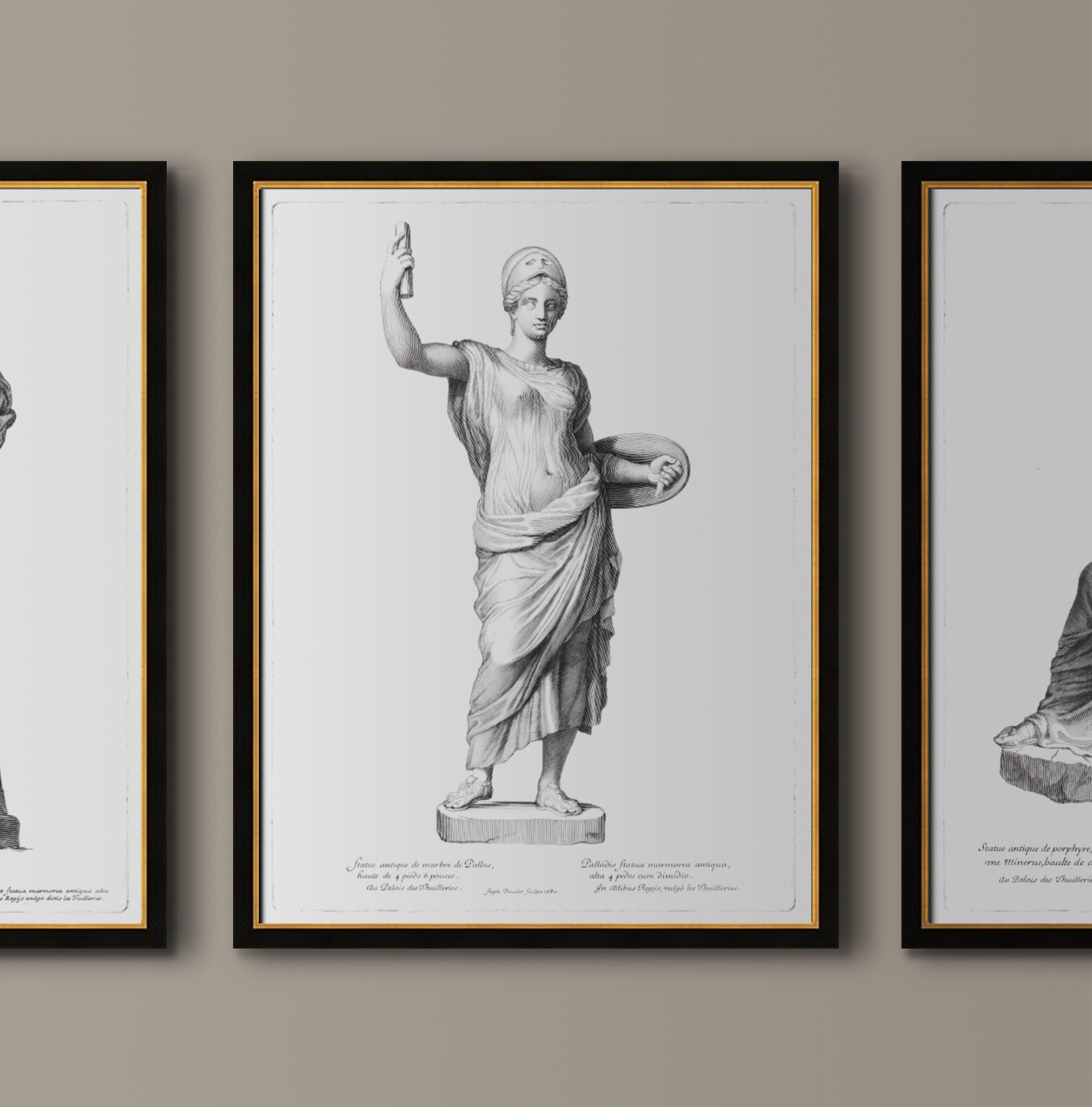 Female Statue Print Figure Art Black and White Art Parisian Art Gallery Wall Decor Classical Art Statue Engraving Art #2 : 17th C