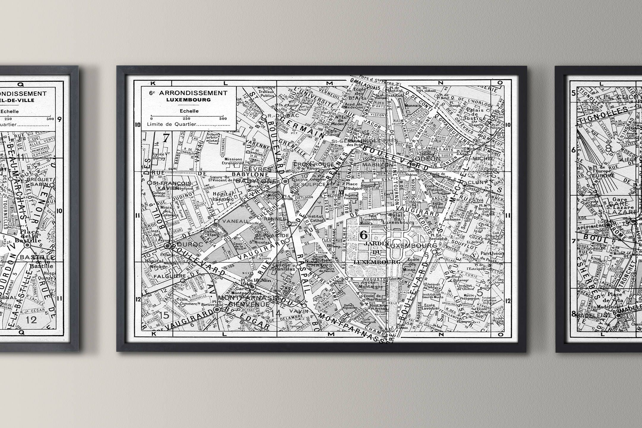 Paris Map 6th Arrondissement Map Luxembourg Map Print Vintage Paris Arrondissement Map Paris Map Print Poster 1950s