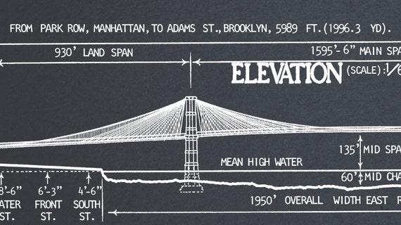 Brooklyn bridge blueprint vintage new york brooklyn bridge etsy brooklyn bridge blueprint vintage new york brooklyn bridge architectural blueprint drawing art print poster giclee print malvernweather Images