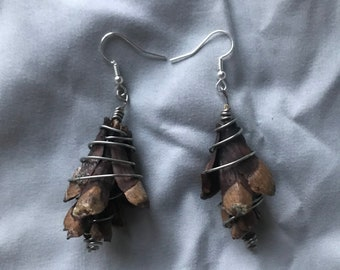 Boho Nature Lover Gift Purple Pinecone Earrings Closure: Clip-On  Standard Hook  925 Sterling Hook Hypoallergenic Silver Wire-Wrapped