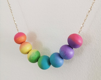 Rainbow Beaded Necklace - Hand Painted beads - cute necklace - cute girls necklace - hand colored beads - pastel necklace - valentines gift