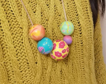 Colorful Painted Bead Necklace - Hand Painted beads - Easter necklace - hand colored beads - wooden beads -