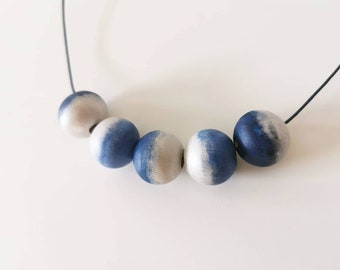 Silver Indigo Beaded Necklace - Hand Painted beads - cute necklace - hand colored beads - Silver and Blue
