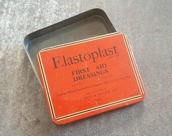 Vintage British elastoplast tin - t.j smith and nephew - vintage medicine cabinet, vintage tin, red tin, tin box, bathroom decor