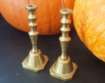 Vintage small brass taper candlesticks -Edwardian brass, brass candlesticks, brass candle holders, brass decor, candlestick holders.
