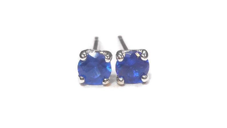 d5555ded93628 Blue Cubic Zirconia Stud Earrings,4mm Blue Studs,Small Blue  Earrings,Sterling Silver Post,September Birthstone