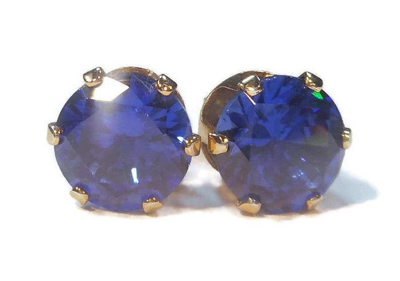 90fde2b812af6 Blue Cubic Zirconia Stud Earrings,8mm Royal Blue Studs,14K Gold Filled  Post,Gifts for Her,September Birthstone,Father's Day Gifts