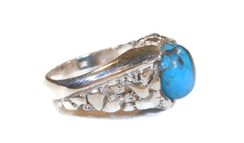 Turquoise Ring,Mens Turquoise Ring,Mens Ring Turquoise,Southwest Mens Sterling Silver Turquoise Native American Ring,December Birthstone