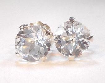 Genuine White Topaz Stud Earrings,6mm Topaz Studs,Real Topaz Earrings,Sterling Silver,White Topaz Earrings,Gifts for Her,April Birthstone