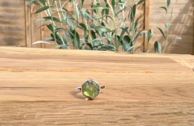 Raw Stone Silver Ring Women\u2019s Gemstone Jewellery August Peridot Birthstone Gift Christmas Gift Idea