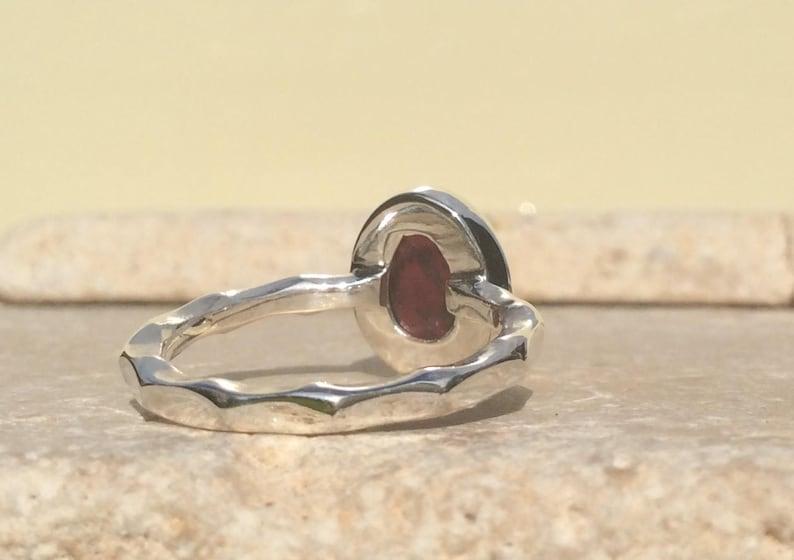 Raw Stone Ring January Birthstone Silver Ring Raw Garnet Silver Ring