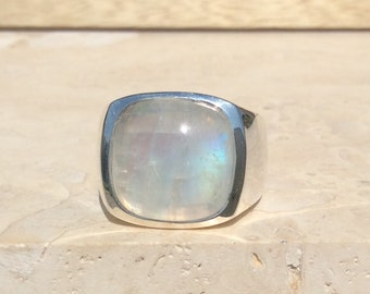 Men's Silver Ring, Moonstone Silver Ring, Mens' Gemstone Ring, Large Stone Ring, Gemstone Silver Ring