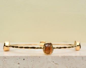 Citrine Bangle, Raw Gemstone Bangle, Raw Stone Gold Bangle, Raw Citrine Gold Bangle, Rough Citrine, Four Stone Gold Bangle With Stones