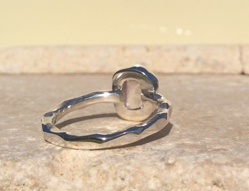 Raw Rose Quartz Silver Ring Gift For Sister Pink Gemstone Silver Jewellery