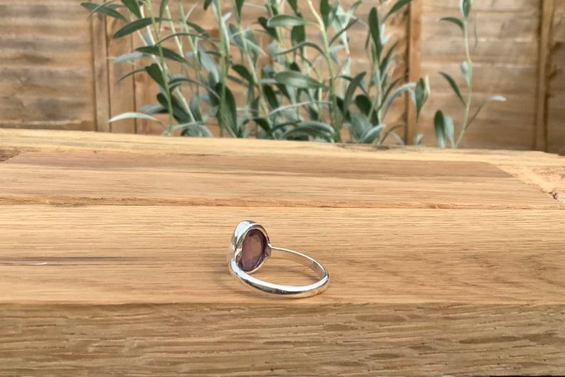 February Birthstone Jewellery Womens Gemstone Silver Ring Raw Amethyst Ring