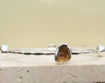 Raw Gemstone Bangle, Raw Stone Silver Bangle, Raw Citrine Bangle, Gemstone Bangle, Four Stone Silver Bangle, Bangle With Stones