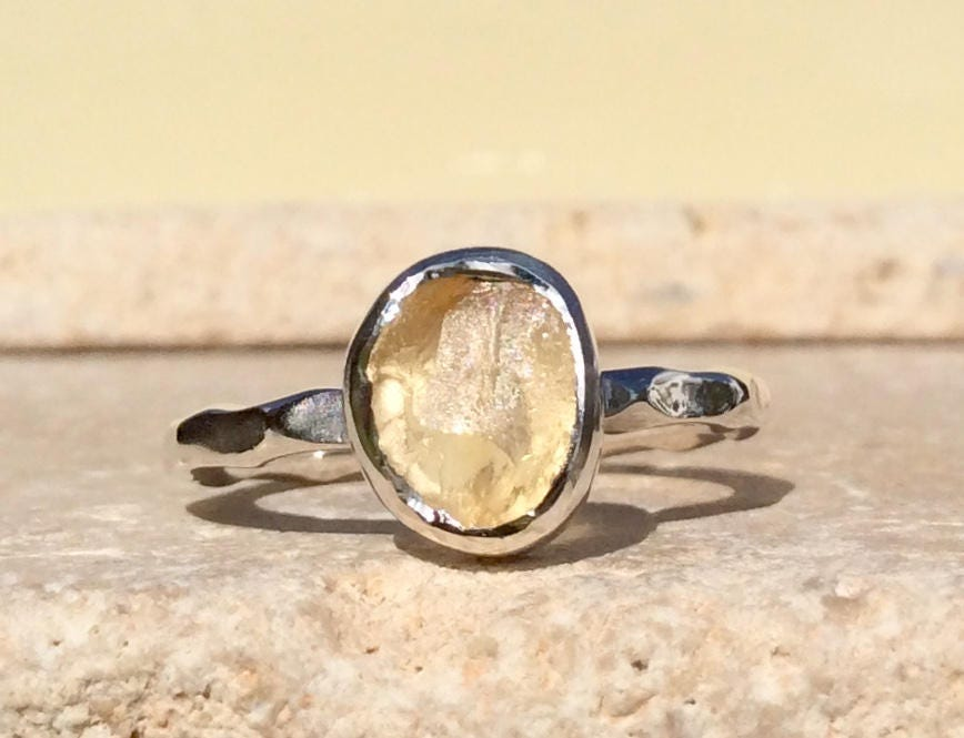 handmade ring raw crystal ring Lemon quartz statement ring size 6 organic jewellery solitaire ring unique ring sterling silver,