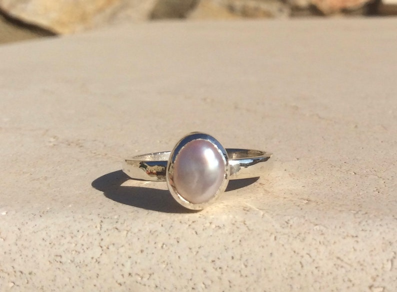 Bridesmaids Gift Silver Pearl Stacking Ring June Birthstone Ring Pink Pearl Silver Ring Freshwater Pearl Jewellery