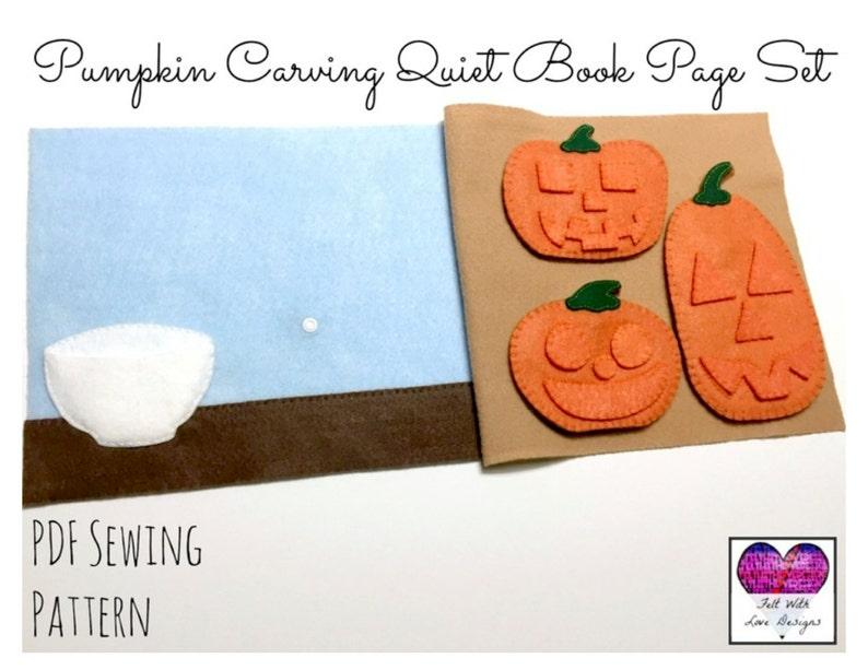 Pumpkin Carving Quiet Book Page Set  PDF Sewing Pattern image 1