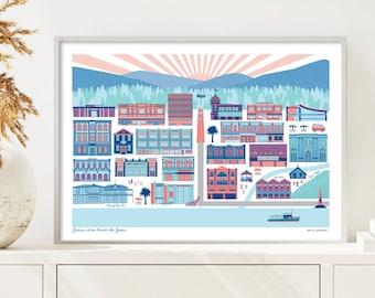 GISBORNE, New Zealand Art Print. free shipping. Bridget Hall Design