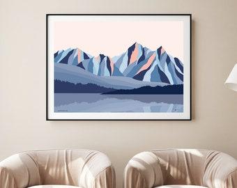 Sawtooth Range, Rocky Mountains, Idaho. Contemporary Art Print. Mountain Wall Art. Abstract Modern Mountain Landscape. Bridget Hall Design