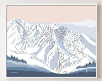 TAOS, New Mexico. Mountain Ski Trail Map Wall Art Print. By Bridget Hall Design. Free Shipping