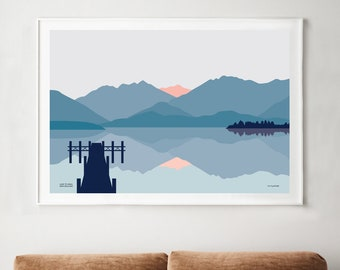 Lake Te Anau, Fiordland, New Zealand Art Print. Contemporary Mountains and Lake Landscape. free shipping worldwide. Bridget Hall Design