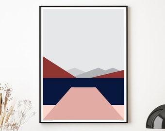 Wanaka Wharf Modern Abstract Landscape,  New Zealand Art Print. Mountains and Lake. FREE WORLDWIDE SHIPPING. Bridget Hall Design