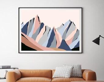Aiguilles de Chamonix. Impression d'art de paysage de montagne moderne. The Needles, Chamonix, France. Modern Mountain Landscape Art Print