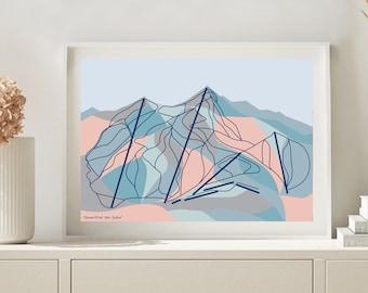 Coronet Peak Ski Resort Trail Map. Queenstown, New Zealand Modern Art Print. FREE WORLDWIDE SHIPPING. Bridget Hall Design
